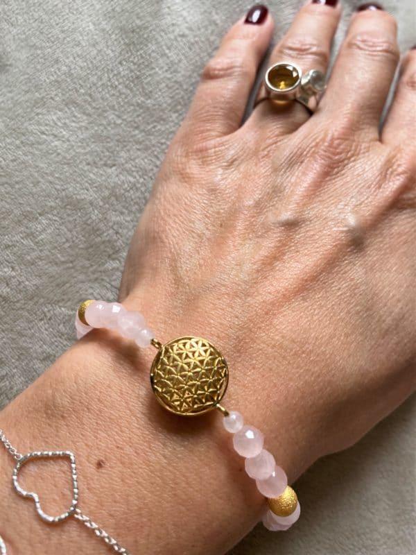 Edelsteinarmband Rosenquarz - Blume des Lebens 4 SanjaNatur