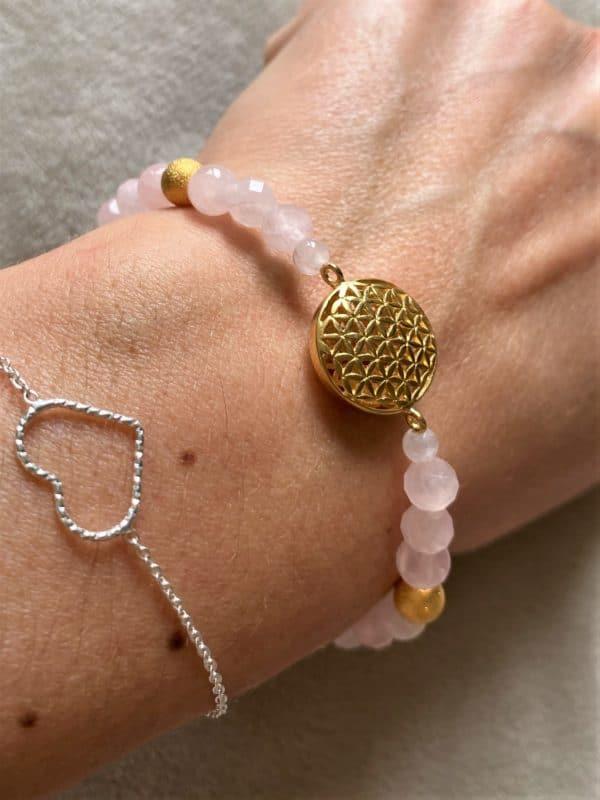 Edelsteinarmband Rosenquarz - Blume des Lebens 5 SanjaNatur