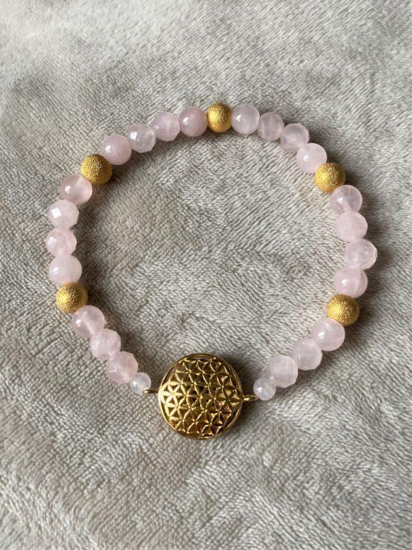 Edelsteinarmband Rosenquarz - Blume des Lebens 3 SanjaNatur