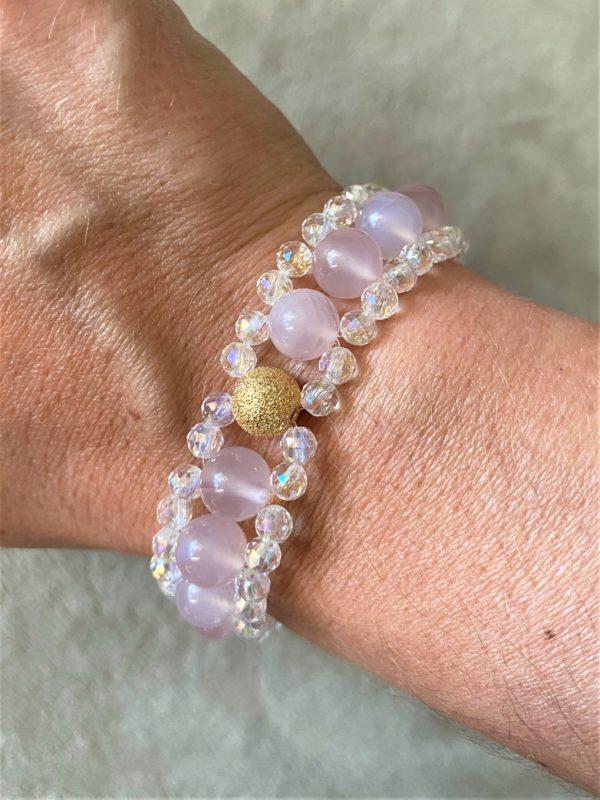 Edelsteinarmband Achat rosa mit Angel Aura - Schutz und Sicherheit 1 SanjaNatur