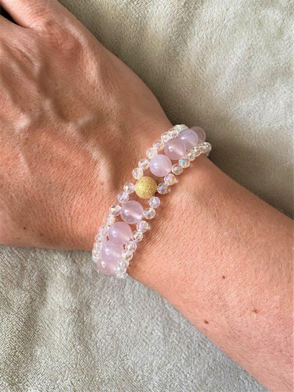 Edelsteinarmband Achat rosa mit Angel Aura - Schutz und Sicherheit 2 SanjaNatur