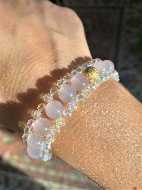 Edelsteinarmband Achat rosa mit Angel Aura - Schutz und Sicherheit 3 SanjaNatur