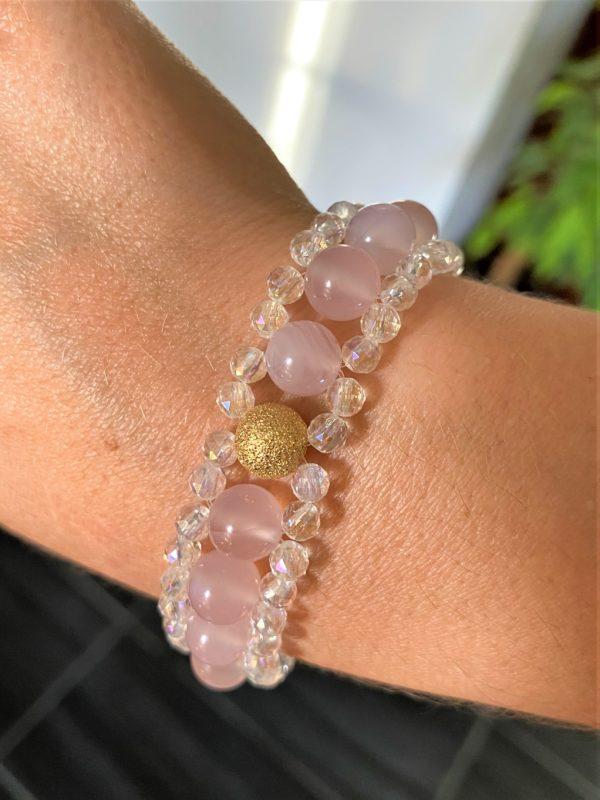 Edelsteinarmband Achat rosa mit Angel Aura - Schutz und Sicherheit 4 SanjaNatur