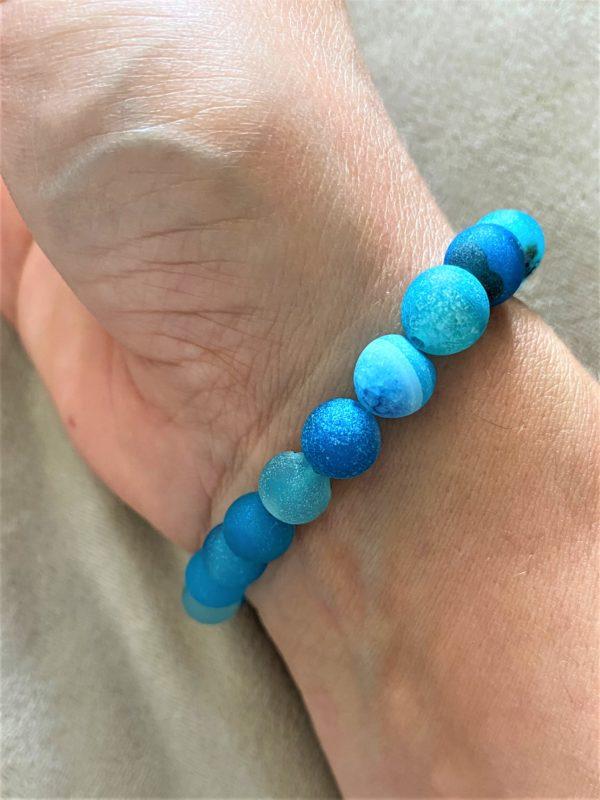 Edelsteinarmband blauer Achat mit Silber - Schutz und Norden 4 SanjaNatur