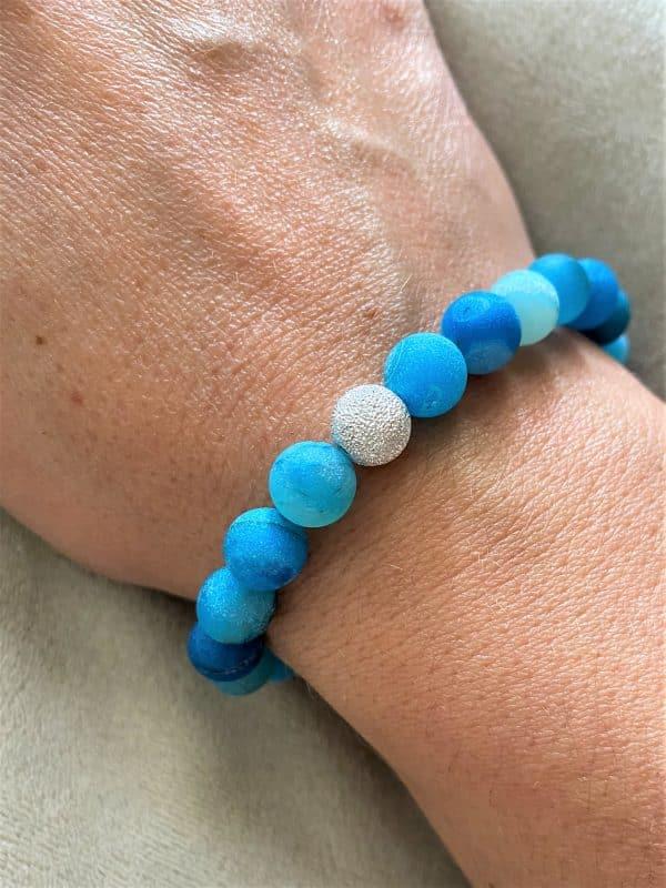 Edelsteinarmband blauer Achat mit Silber - Schutz und Norden 2 SanjaNatur