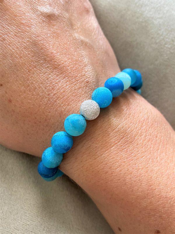 Edelsteinarmband blauer Achat mit Silber - Schutz und Norden 3 SanjaNatur