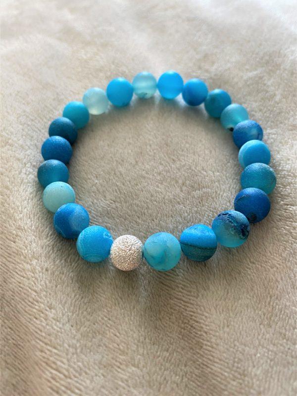Edelsteinarmband blauer Achat mit Silber - Schutz und Norden 1 SanjaNatur