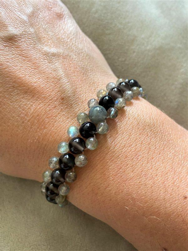 Edelsteinarmband Obsidian und Labradorit - Wahrnehmung und Fantasie 1 SanjaNatur