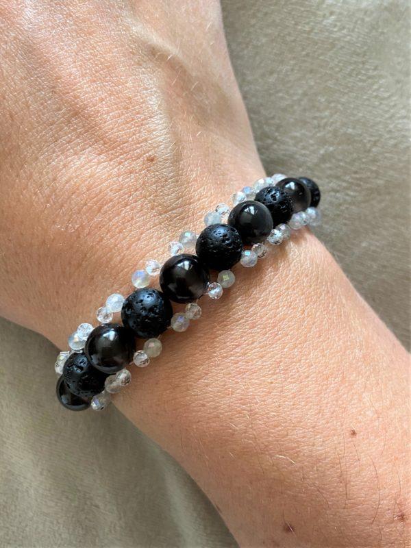 Edelsteinarmband Obsidian mit Lava, Topas und Labradorit - Energie + Lebenskraft 2 SanjaNatur