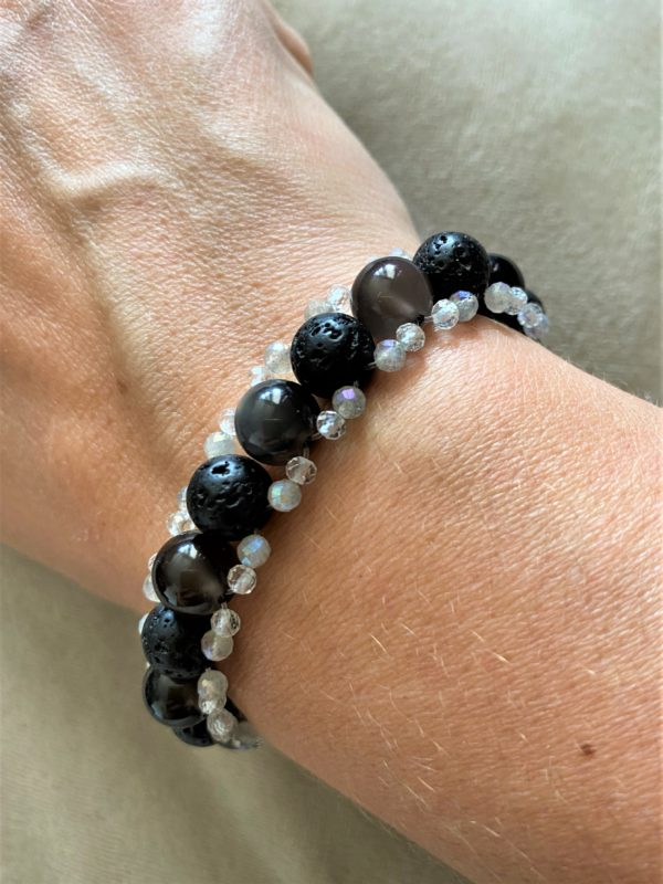 Edelsteinarmband Obsidian mit Lava, Topas und Labradorit - Energie + Lebenskraft 3 SanjaNatur