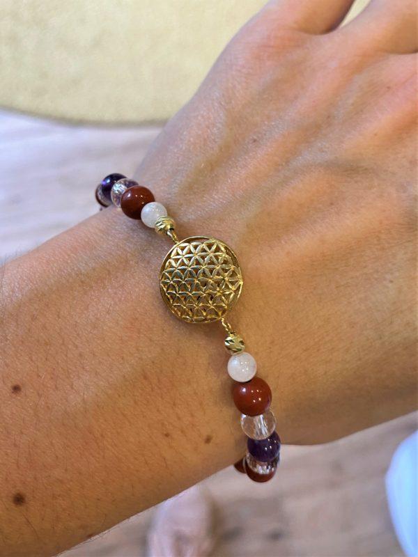 Edelsteinarmband roter Jaspis mit Amethyst und Bergkristall - goldene Blume des Lebens 3 SanjaNatur