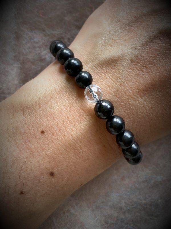 Edelsteinarmband 04 - Schungit mit Bergkristall facettiert Schutz und Sicherheit 2 SanjaNatur