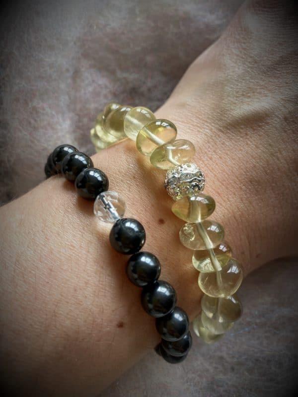 Edelsteinarmband 04 - Schungit mit Bergkristall facettiert Schutz und Sicherheit 4 SanjaNatur