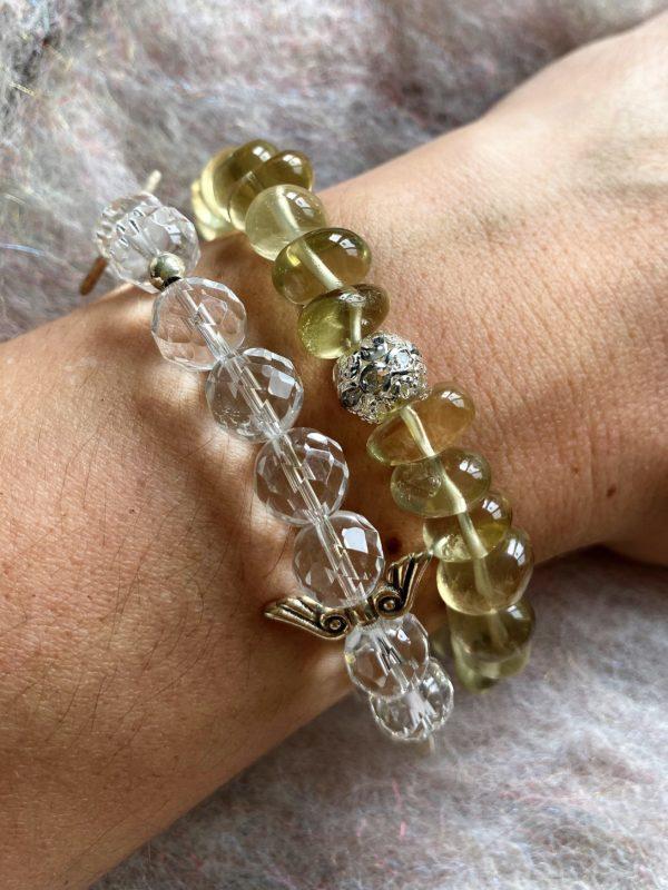 Set - Limonenquarz-Armband Zirkonia mit Citrin Ohringen facettiert - Silber 7 SanjaNatur