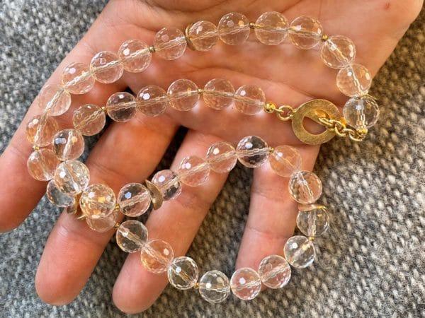 Lichtkette Goldplättchen Bergkristall facettiert - Silber vergoldet 2 SanjaNatur