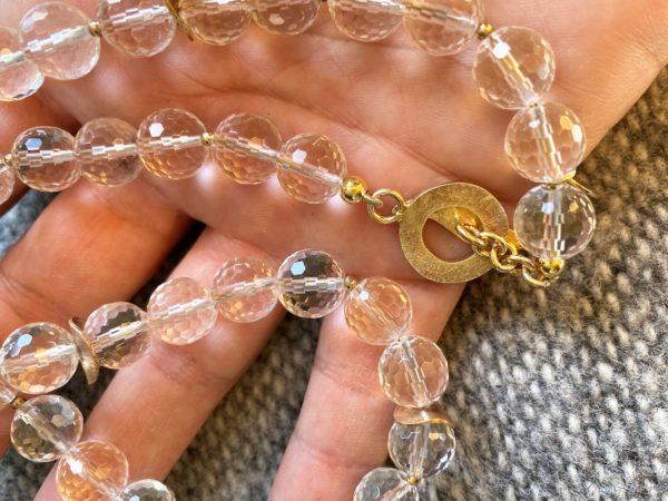 Lichtkette Goldplättchen Bergkristall facettiert - Silber vergoldet 5 SanjaNatur
