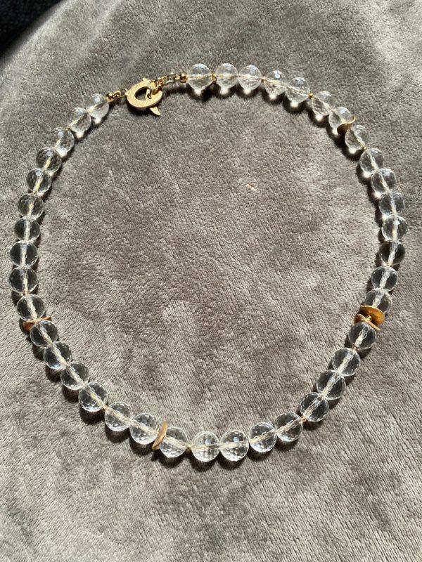 Lichtkette Goldplättchen Bergkristall facettiert - Silber vergoldet 4 SanjaNatur