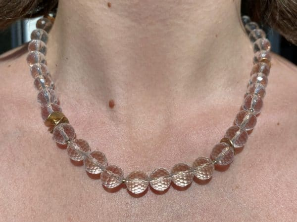 Lichtkette Goldplättchen Bergkristall facettiert - Silber vergoldet 3 SanjaNatur
