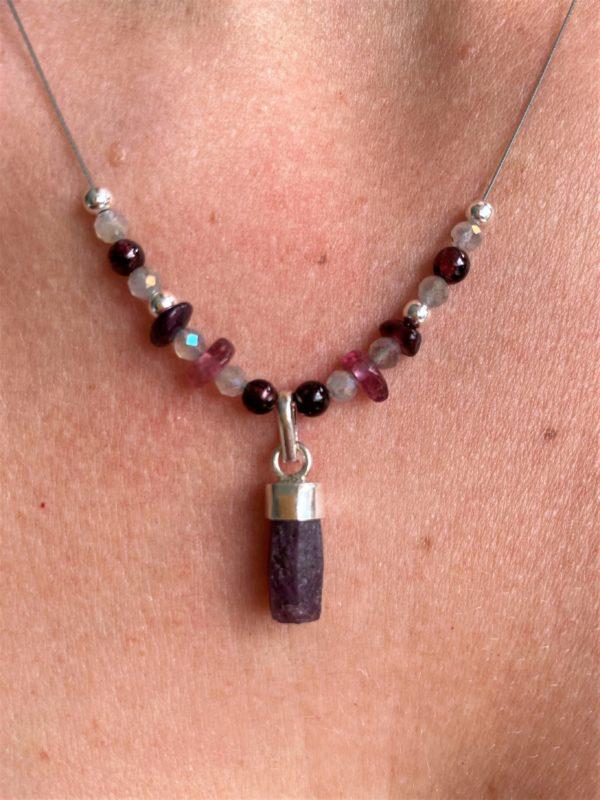 Heilsteinkette Rubin mit Granat und Turmalin - Silber - Liebesglück 1 SanjaNatur