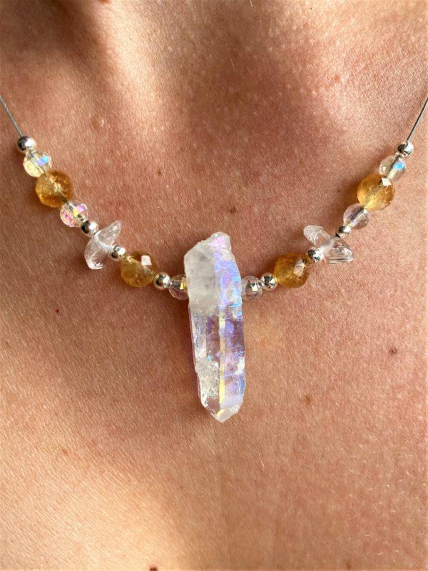 Heilsteinkette Angel Aura mit Citrin und Bergkristall - Silber - Stärke und Gleichgewicht 1 SanjaNatur