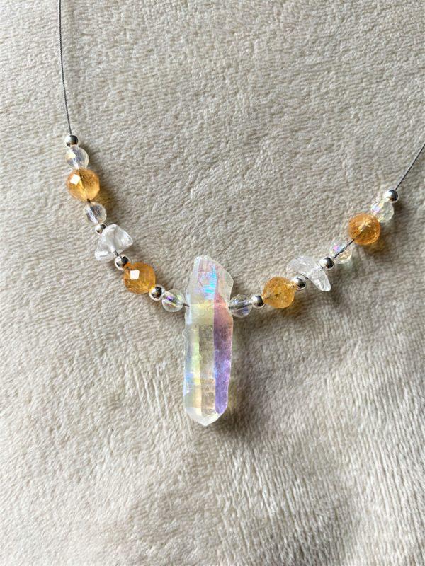Heilsteinkette Angel Aura mit Citrin und Bergkristall - Silber - Stärke und Gleichgewicht 5 SanjaNatur
