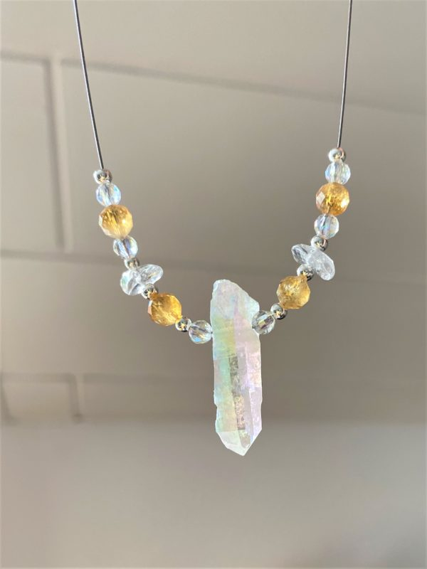 Heilsteinkette Angel Aura mit Citrin und Bergkristall - Silber - Stärke und Gleichgewicht 3 SanjaNatur