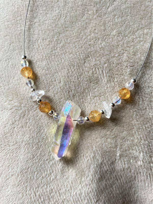 Heilsteinkette Angel Aura mit Citrin und Bergkristall - Silber - Stärke und Gleichgewicht 4 SanjaNatur