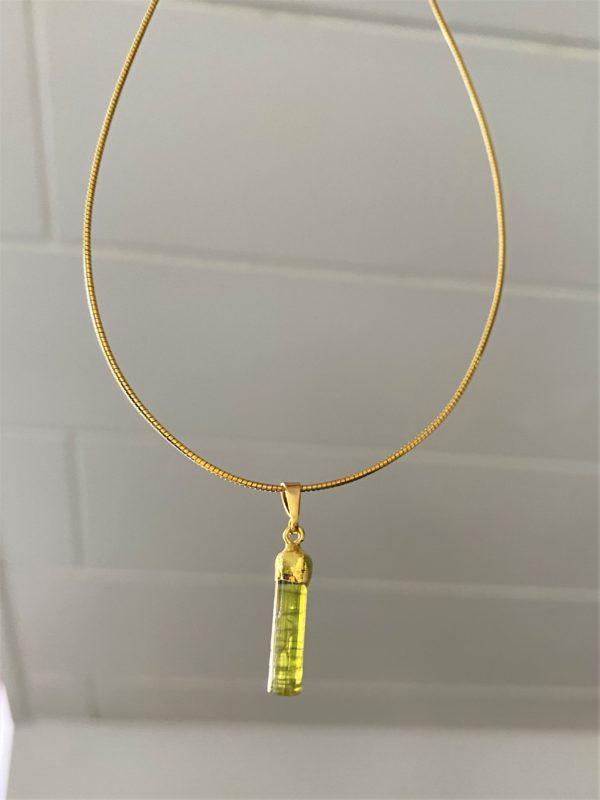Heilsteinkette 02 grüner Turmalin - Gold - Erholung und Ausgleich 2 SanjaNatur