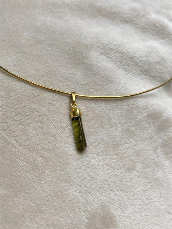 Heilsteinkette 02 grüner Turmalin - Gold - Erholung und Ausgleich 1 SanjaNatur
