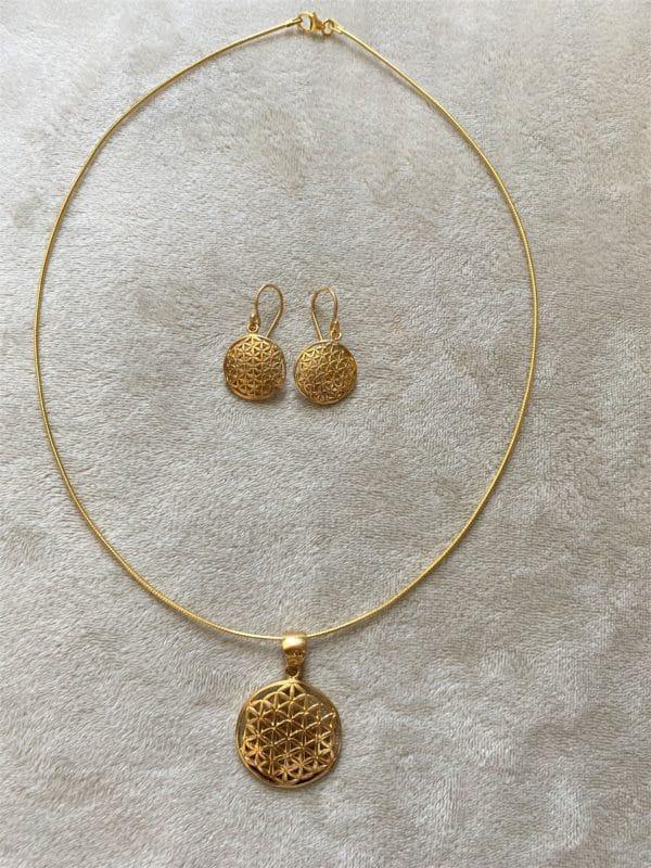Set: Blume des Lebens, Hals & Ohr - Gold - Harmonie und Energie 3 SanjaNatur