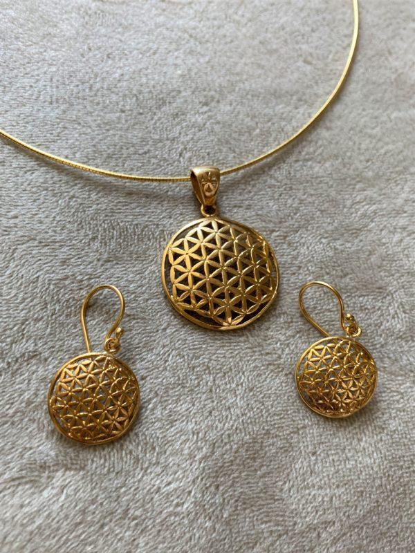 Set: Blume des Lebens, Hals & Ohr - Gold - Harmonie und Energie 1 SanjaNatur