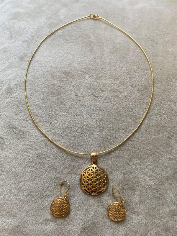Set: Blume des Lebens, Hals & Ohr - Gold - Harmonie und Energie 2 SanjaNatur