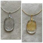 Blume des Lebens Bergkristall Anhänger mit Halsreif - Gold und Silber 14 SanjaNatur