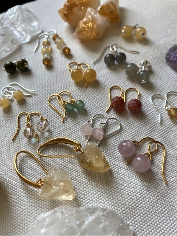 Besondere Heilstein Ohr-Unikate mit Gold und Silber - verschiedene Ausführungen 2 SanjaNatur
