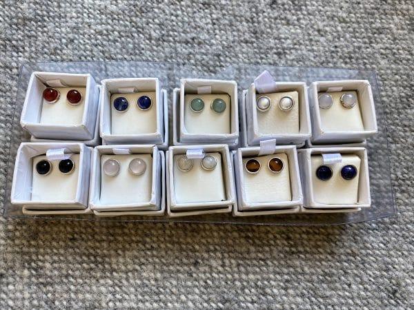 Edelsteinohrstecker 06 - Edelsteinkugeln und Perlen, 6 mm verschiedene Ausführungen - Silber eingefasst 1 SanjaNatur