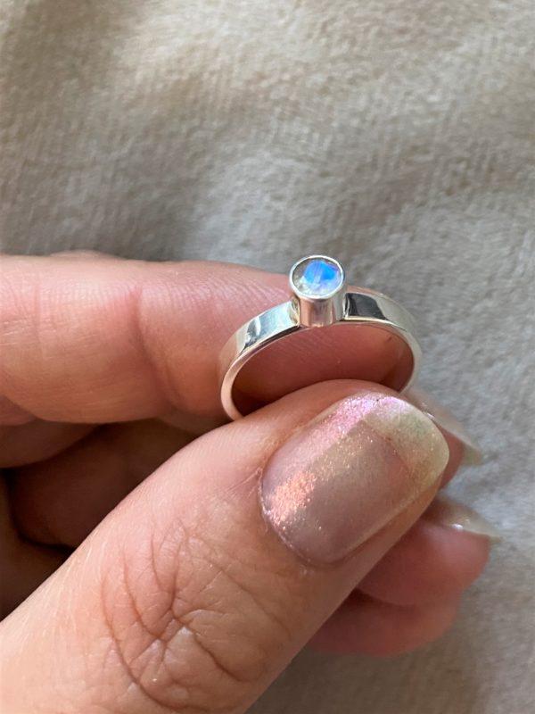 Ring Silber Labradorit (klein) weiß - Intuition & Ruhe 2 SanjaNatur