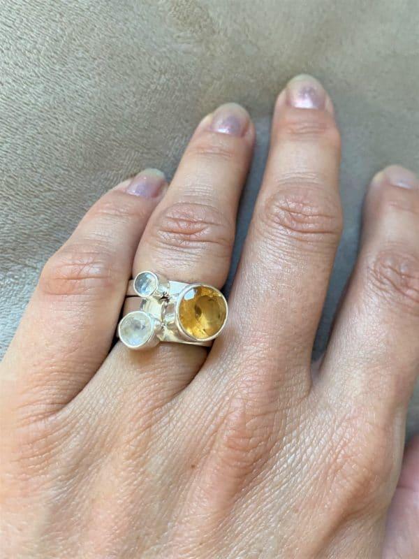 Ring Silber Labradorit (klein) weiß - Intuition & Ruhe 8 SanjaNatur