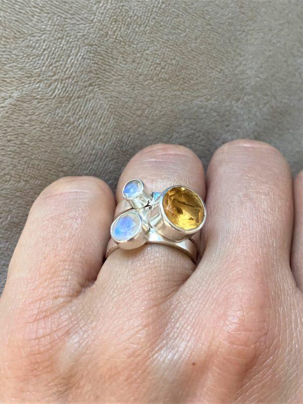Ring Silber Labradorit (groß) weiß - Intuition & Ruhe 7 SanjaNatur