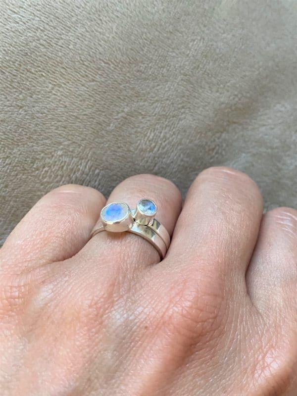 Ring Silber Labradorit (klein) weiß - Intuition & Ruhe 6 SanjaNatur