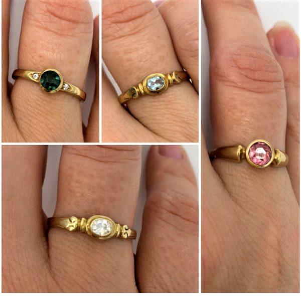 Edelstein Fingerring Gold - verschiedene Variationen 1 SanjaNatur