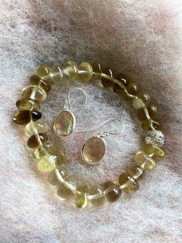 Set - Limonenquarz-Armband Zirkonia mit Citrin Ohringen facettiert - Silber 4 SanjaNatur