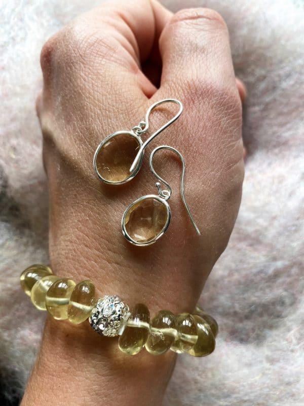 Set - Limonenquarz-Armband Zirkonia mit Citrin Ohringen facettiert - Silber 1 SanjaNatur