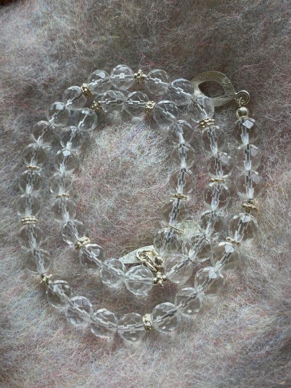 Set - Lichtkette mit Licht-Armband Bergkristall facettiert - Silber - Klarheit und Sicherheit 8 SanjaNatur