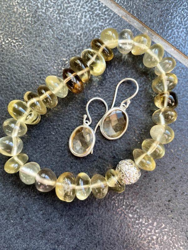 Set - Limonenquarz-Armband Zirkonia mit Citrin Ohringen facettiert - Silber 2 SanjaNatur