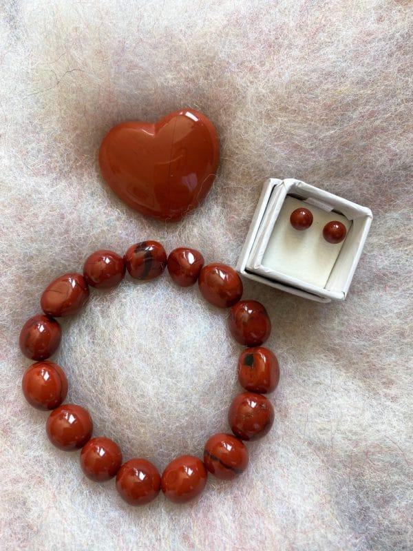 Set - Schwangerschaft: roter Jaspis Ohrstecker mit passendem Armband und Handschmeichler Herz 1 SanjaNatur