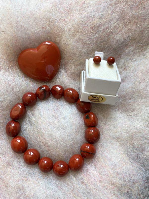 Set - Schwangerschaft: roter Jaspis Ohrstecker mit passendem Armband und Handschmeichler Herz 5 SanjaNatur
