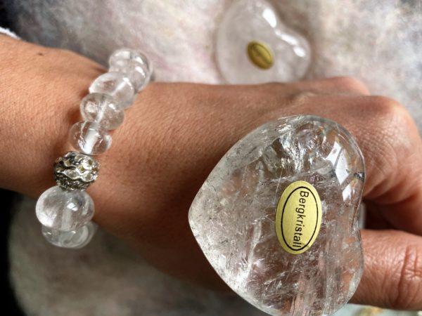 Set: Edelsteinarmband Bergkristall mit Zirkonia + Taschenherz Bergkristall - Klarheit und Sicherheit 2 SanjaNatur