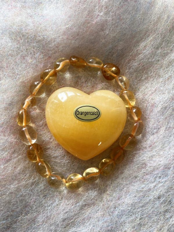 Set: Edelsteinarmband Citrin mit Taschenherz Orangencalzit - Selbstvertrauen und Selbstliebe 1 SanjaNatur