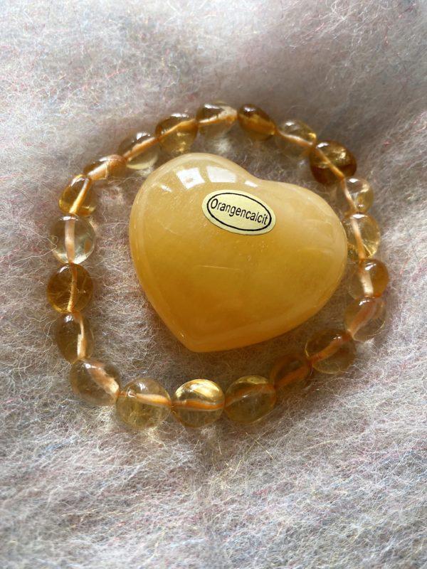 Set: Edelsteinarmband Citrin mit Taschenherz Orangencalzit - Selbstvertrauen und Selbstliebe 2 SanjaNatur