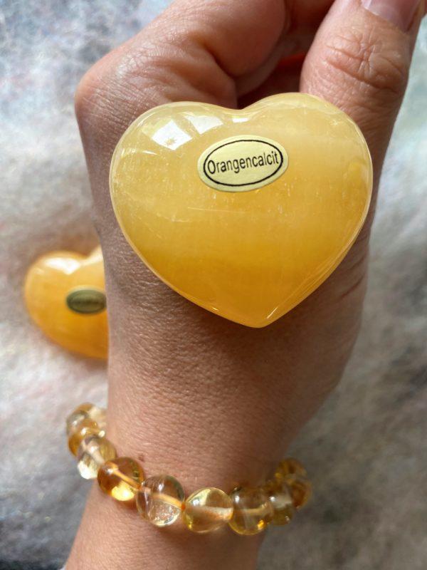 Set: Edelsteinarmband Citrin mit Taschenherz Orangencalzit - Selbstvertrauen und Selbstliebe 3 SanjaNatur